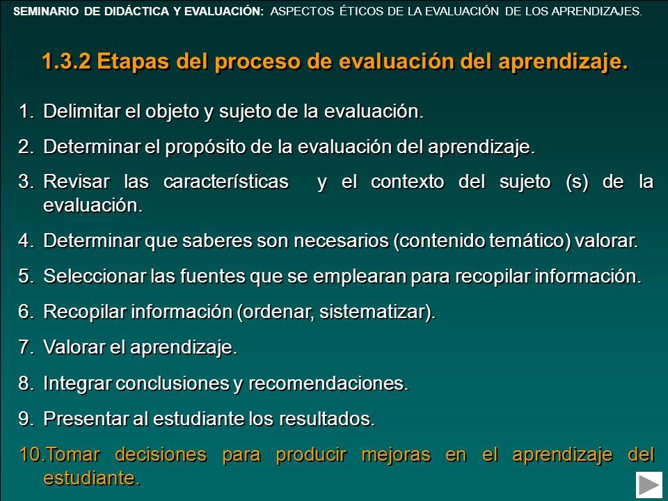 1.3.2 Etapas del proceso de evaluación del aprendizaje.