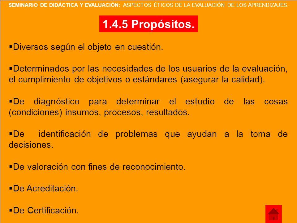 1.4.5 Propósitos. Diversos según el objeto en cuestión.