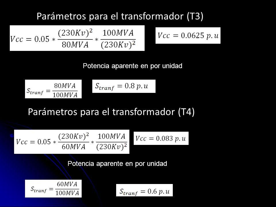 Parámetros para el transformador (T3)
