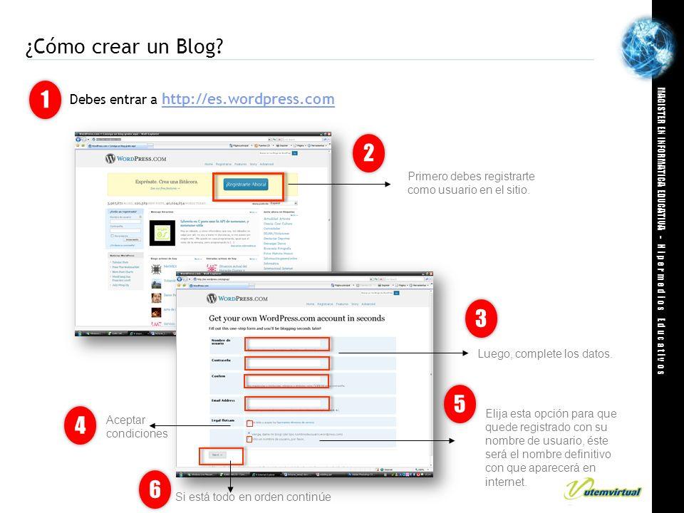 ¿Cómo crear un Blog 1. Debes entrar a http://es.wordpress.com. 2. Primero debes registrarte como usuario en el sitio.
