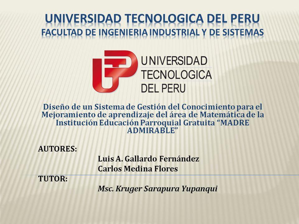 UNIVERSIDAD TECNOLOGICA DEL PERU FACULTAD DE INGENIERIA INDUSTRIAL Y DE SISTEMAS