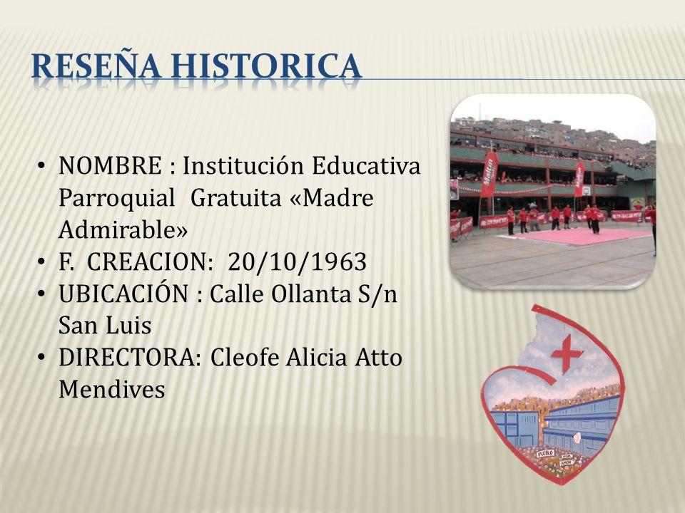 RESEÑA HISTORICA NOMBRE : Institución Educativa Parroquial Gratuita «Madre Admirable» F. CREACION: 20/10/1963.