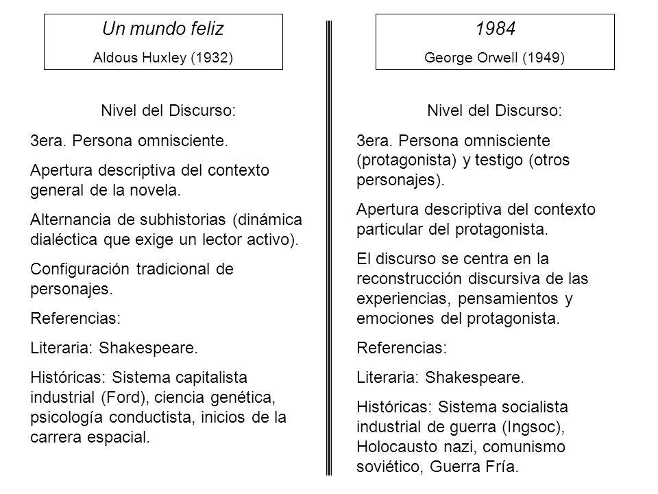 Un mundo feliz 1984 Nivel del Discurso: 3era. Persona omnisciente.