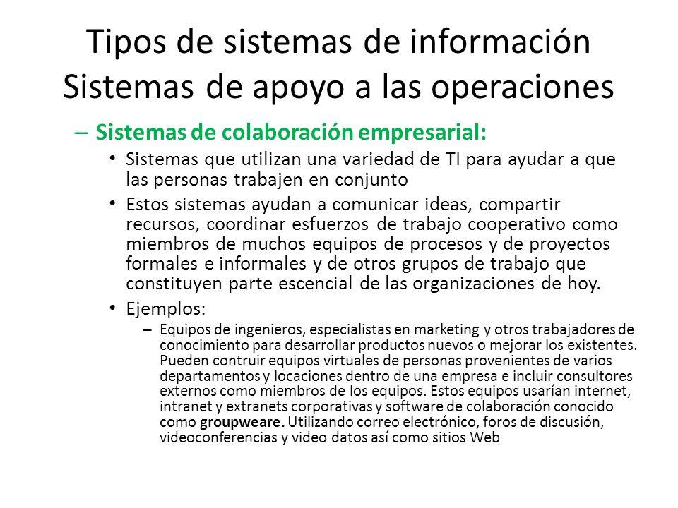 Tipos de sistemas de información Sistemas de apoyo a las operaciones