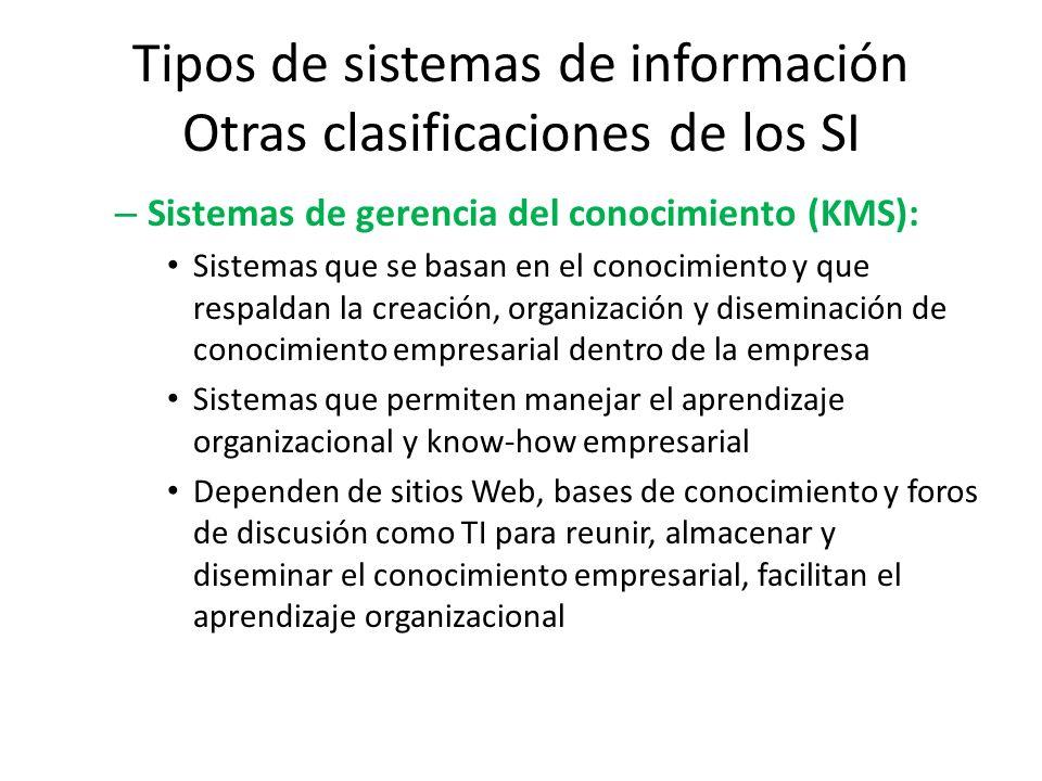 Tipos de sistemas de información Otras clasificaciones de los SI