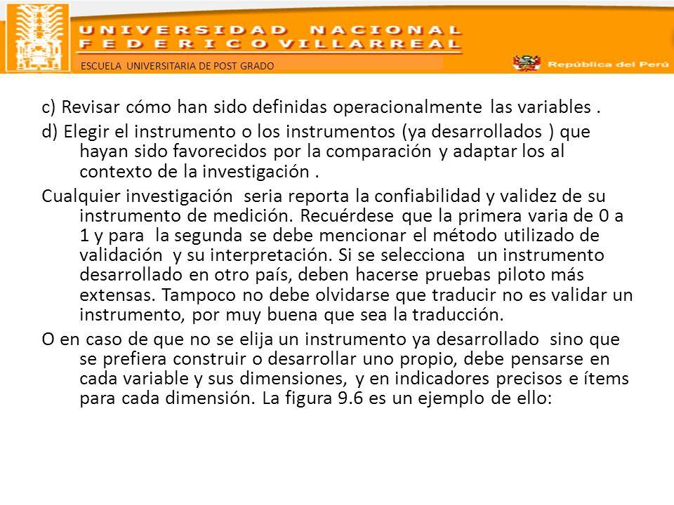 c) Revisar cómo han sido definidas operacionalmente las variables
