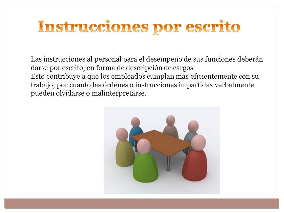Instrucciones por escrito