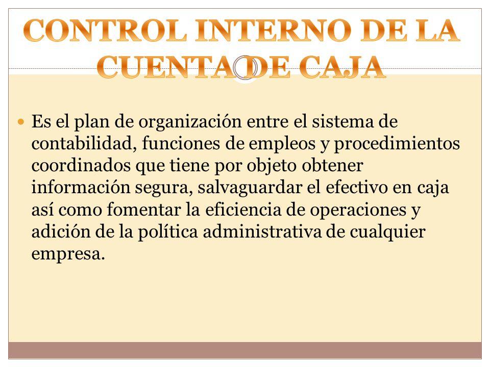 CONTROL INTERNO DE LA CUENTA DE CAJA