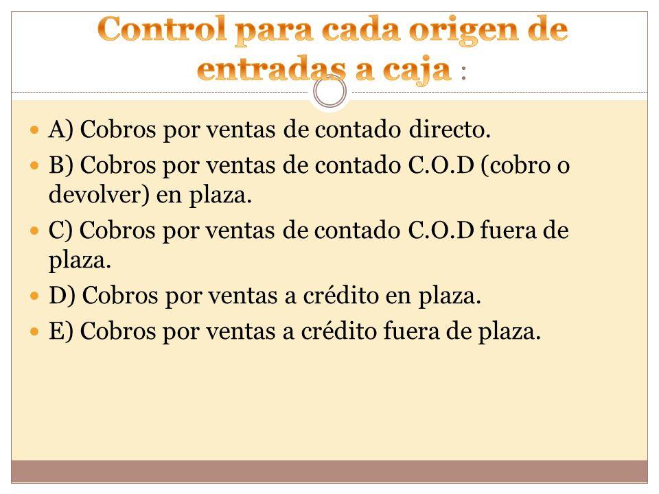 Control para cada origen de entradas a caja :