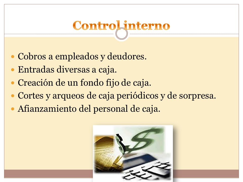 Control interno Cobros a empleados y deudores.