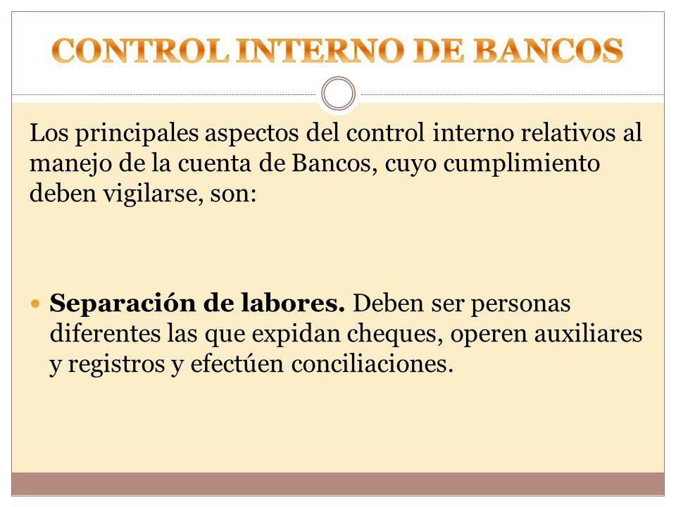 CONTROL INTERNO DE BANCOS