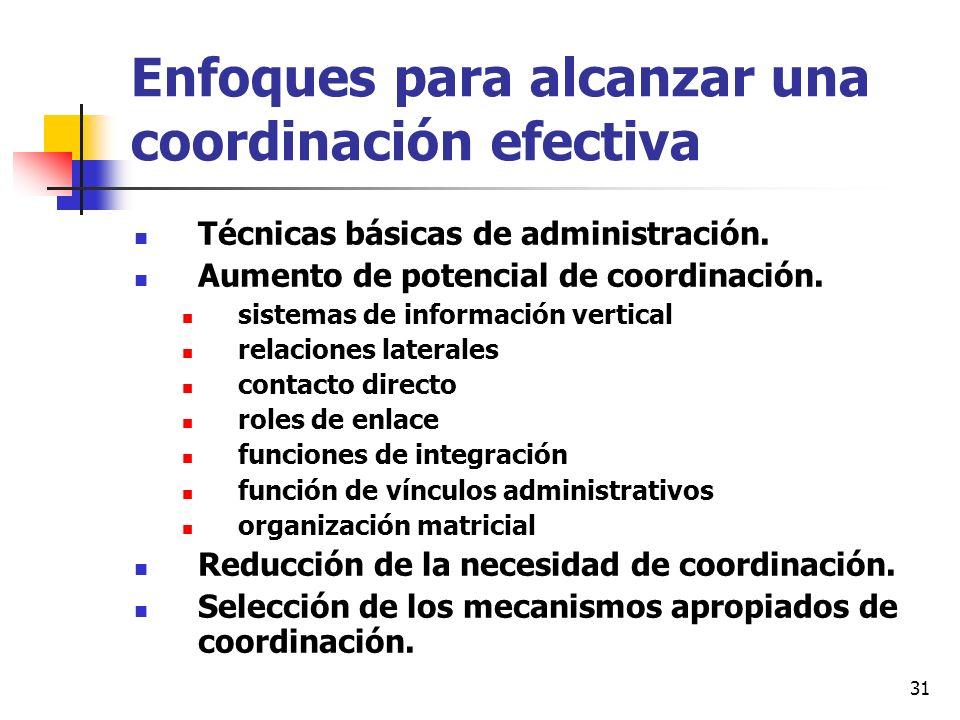 Enfoques para alcanzar una coordinación efectiva