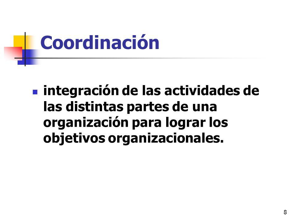 Coordinación integración de las actividades de las distintas partes de una organización para lograr los objetivos organizacionales.