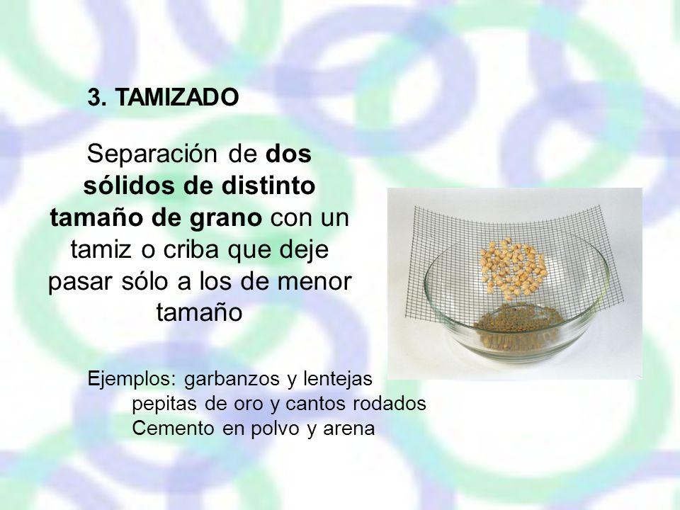 3. TAMIZADO Separación de dos sólidos de distinto tamaño de grano con un tamiz o criba que deje pasar sólo a los de menor tamaño.