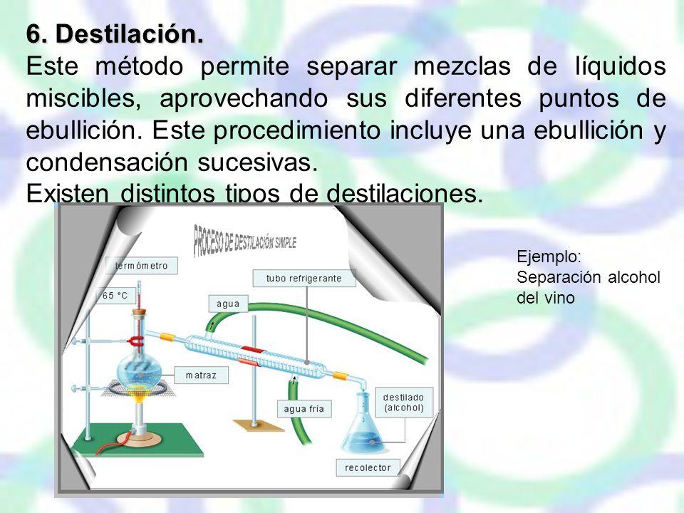 Existen distintos tipos de destilaciones.