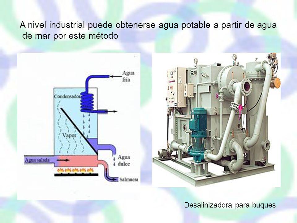 A nivel industrial puede obtenerse agua potable a partir de agua