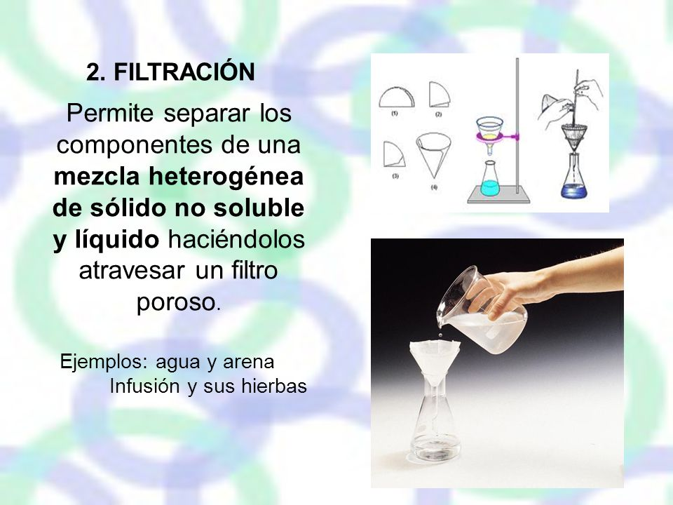 2. FILTRACIÓN Permite separar los componentes de una mezcla heterogénea de sólido no soluble y líquido haciéndolos atravesar un filtro poroso.