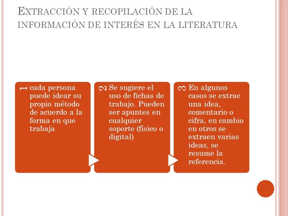 Extracción y recopilación de la información de interés en la literatura