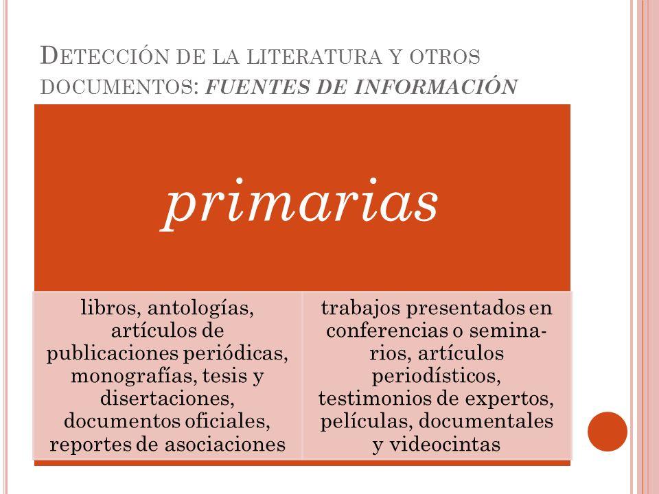 Detección de la literatura y otros documentos: fuentes de información