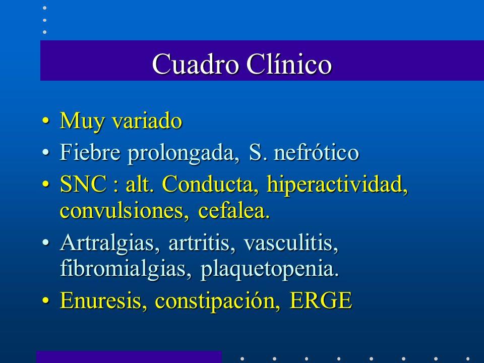 Cuadro Clínico Muy variado Fiebre prolongada, S. nefrótico