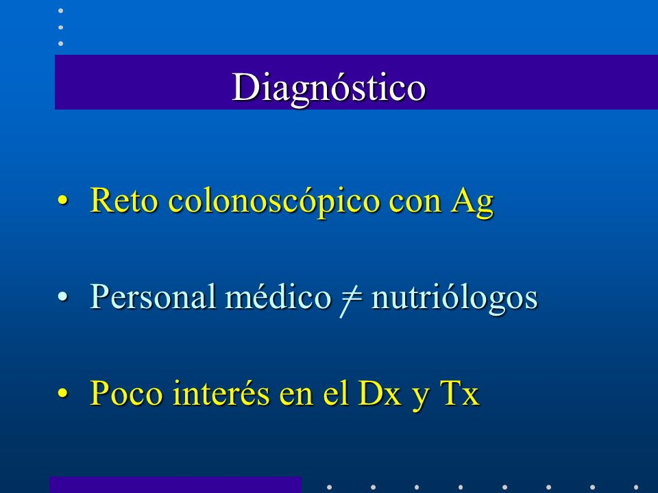 Diagnóstico Reto colonoscópico con Ag Personal médico = nutriólogos