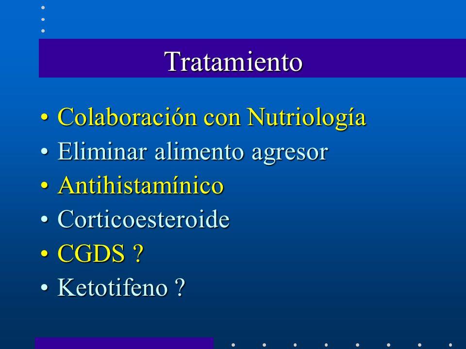 Tratamiento Colaboración con Nutriología Eliminar alimento agresor