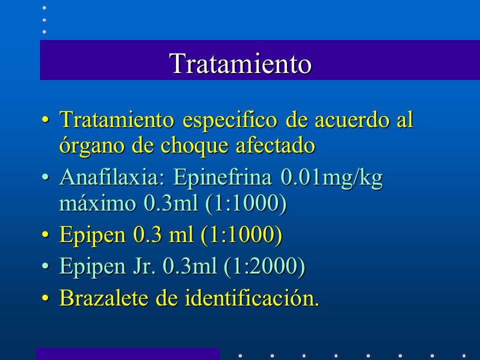 Tratamiento Tratamiento especifico de acuerdo al órgano de choque afectado. Anafilaxia: Epinefrina 0.01mg/kg máximo 0.3ml (1:1000)