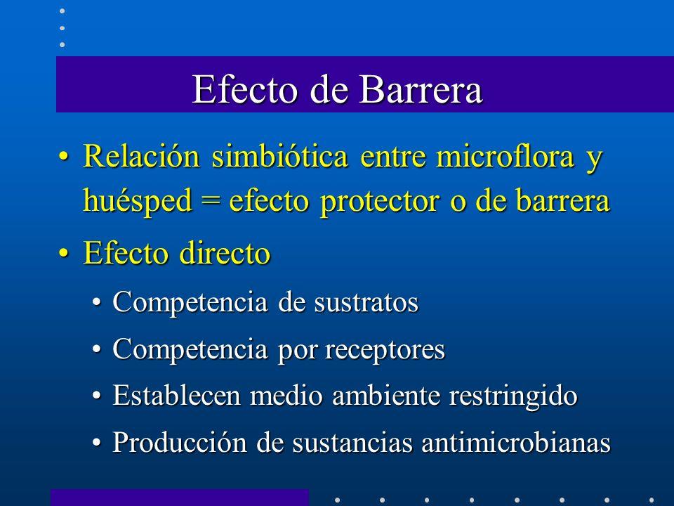 Efecto de Barrera Relación simbiótica entre microflora y huésped = efecto protector o de barrera. Efecto directo.