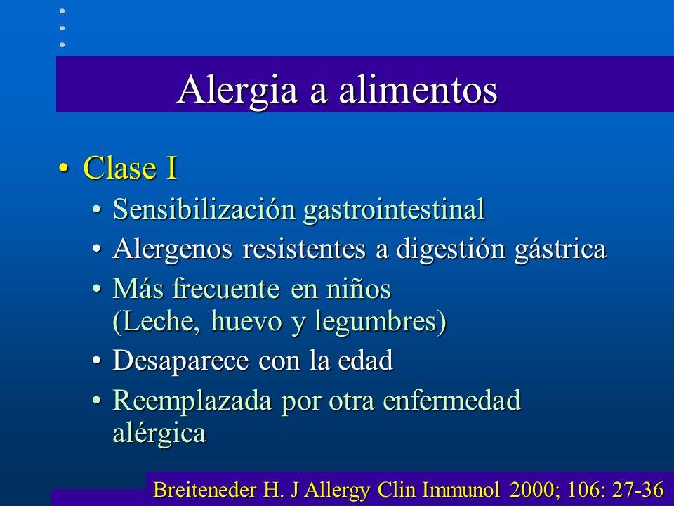Alergia a alimentos Clase I Sensibilización gastrointestinal