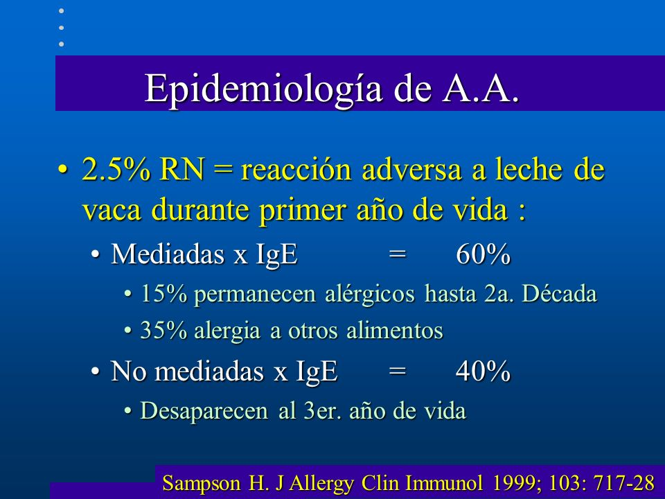 Epidemiología de A.A. 2.5% RN = reacción adversa a leche de vaca durante primer año de vida : Mediadas x IgE = 60%