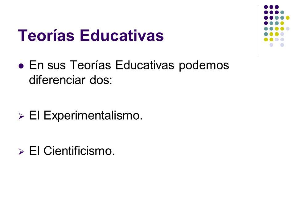 Teorías Educativas En sus Teorías Educativas podemos diferenciar dos: