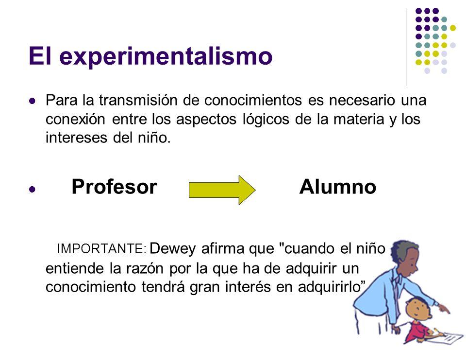 El experimentalismoPara la transmisión de conocimientos es necesario una conexión entre los aspectos lógicos de la materia y los intereses del niño.