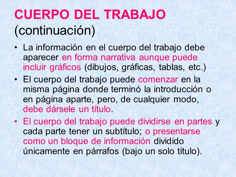 CUERPO DEL TRABAJO (continuación)