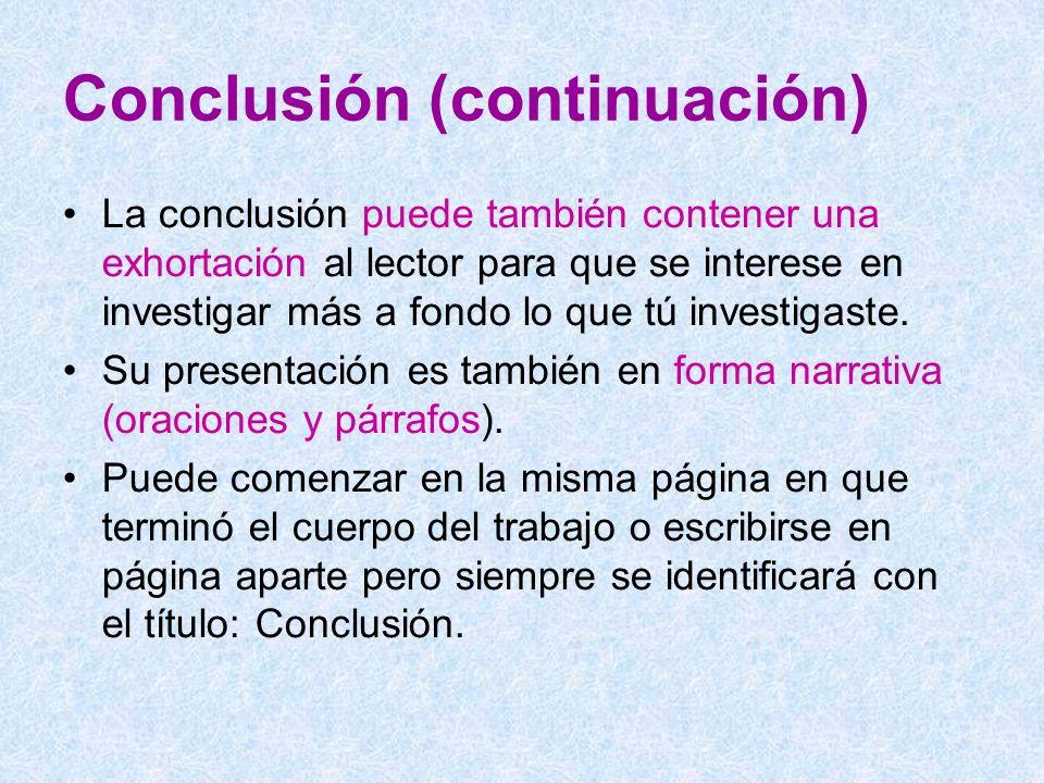 Conclusión (continuación)