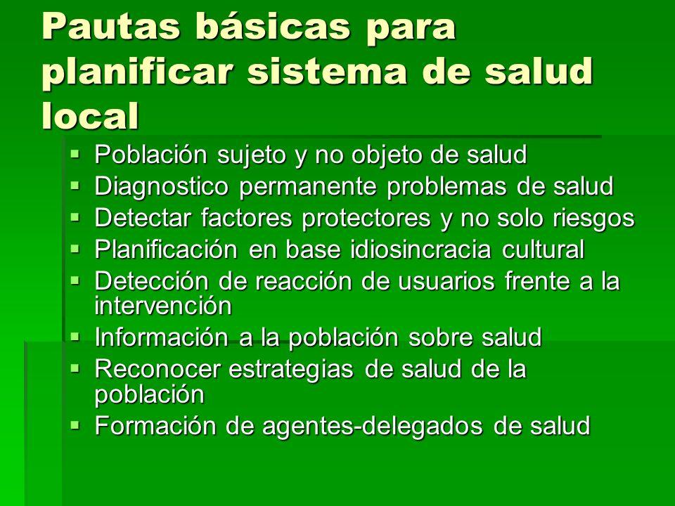 Pautas básicas para planificar sistema de salud local