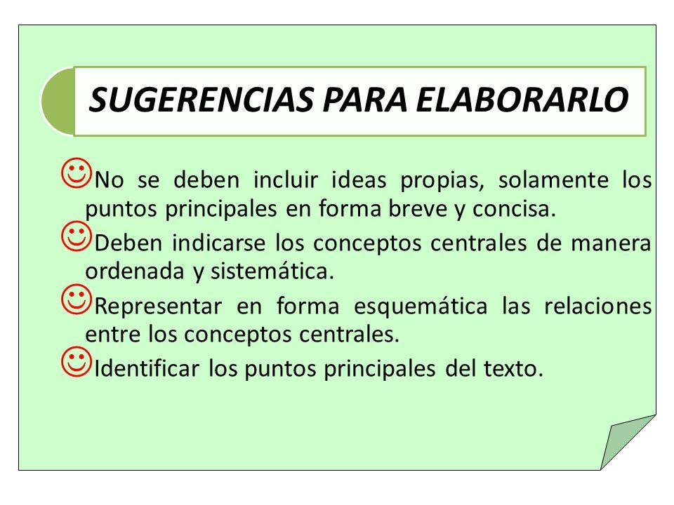 SUGERENCIAS PARA ELABORARLO
