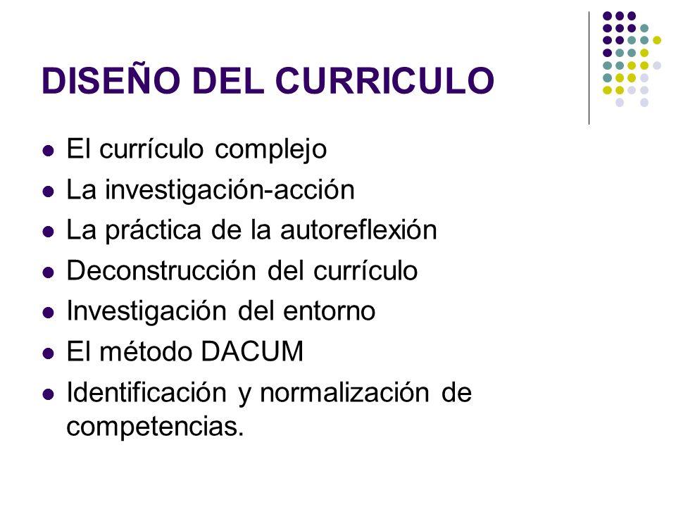 DISEÑO DEL CURRICULO El currículo complejo La investigación-acción
