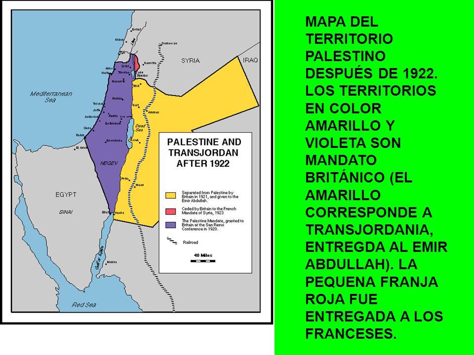 MAPA DEL TERRITORIO PALESTINO DESPUÉS DE 1922