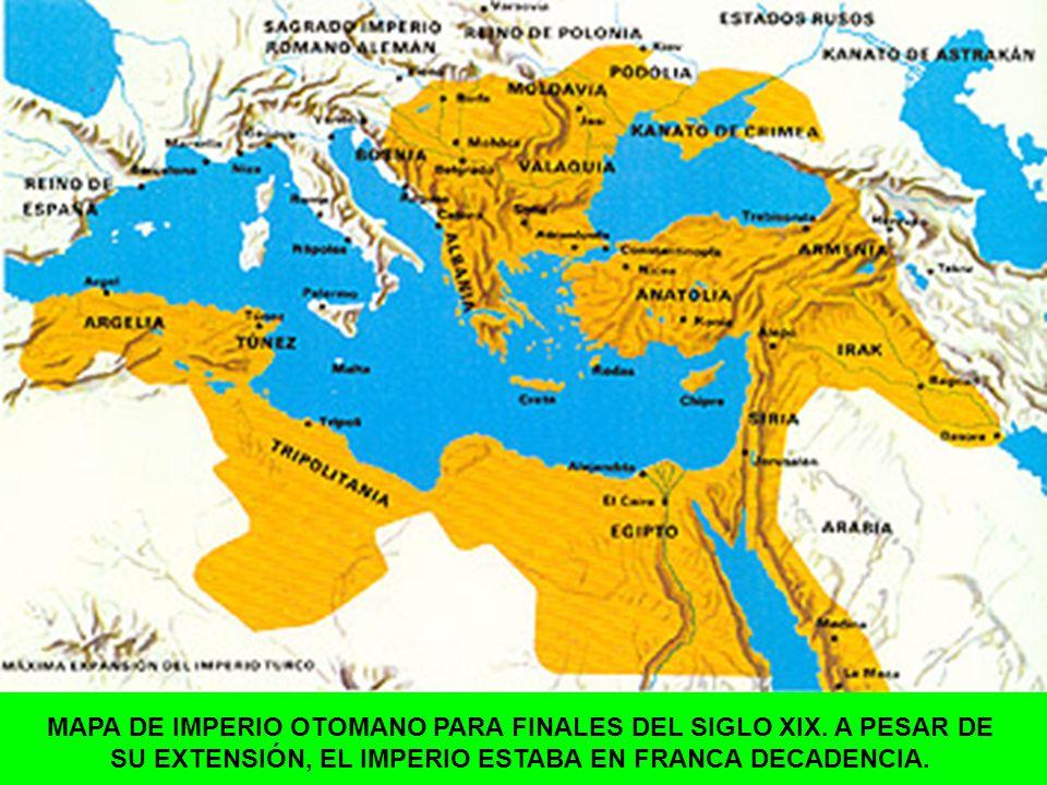 MAPA DE IMPERIO OTOMANO PARA FINALES DEL SIGLO XIX