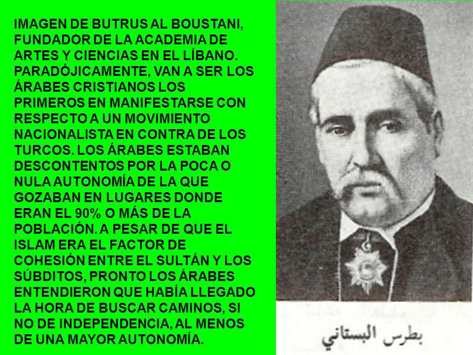 IMAGEN DE BUTRUS AL BOUSTANI, FUNDADOR DE LA ACADEMIA DE ARTES Y CIENCIAS EN EL LÍBANO.