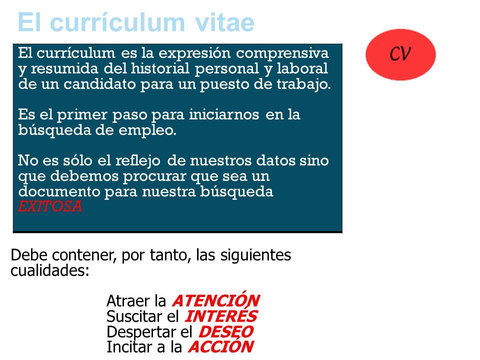 El currículum vitaeEl currículum es la expresión comprensiva y resumida del historial personal y laboral de un candidato para un puesto de trabajo.