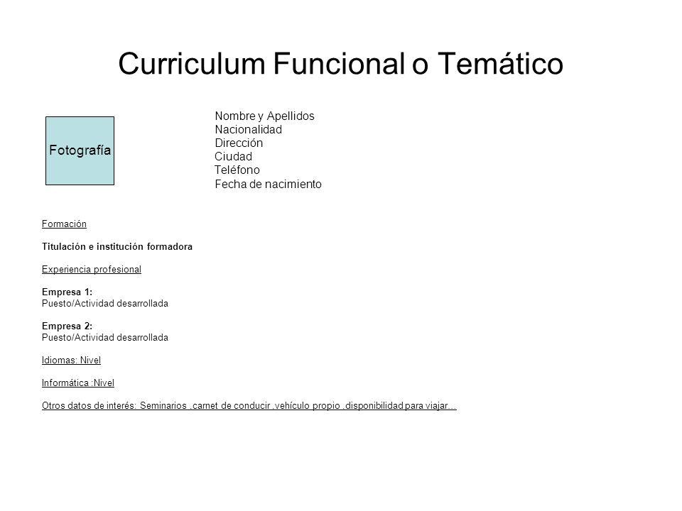 Curriculum Funcional o Temático