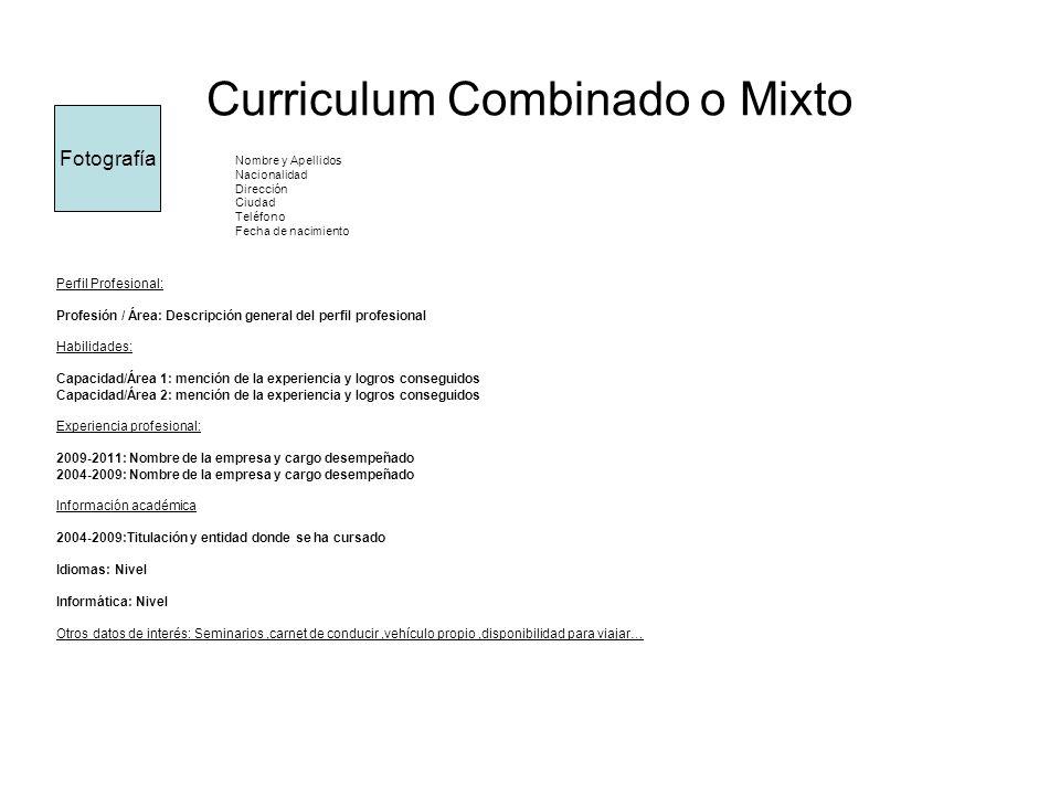 Curriculum Combinado o Mixto