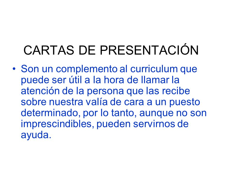 CARTAS DE PRESENTACIÓN