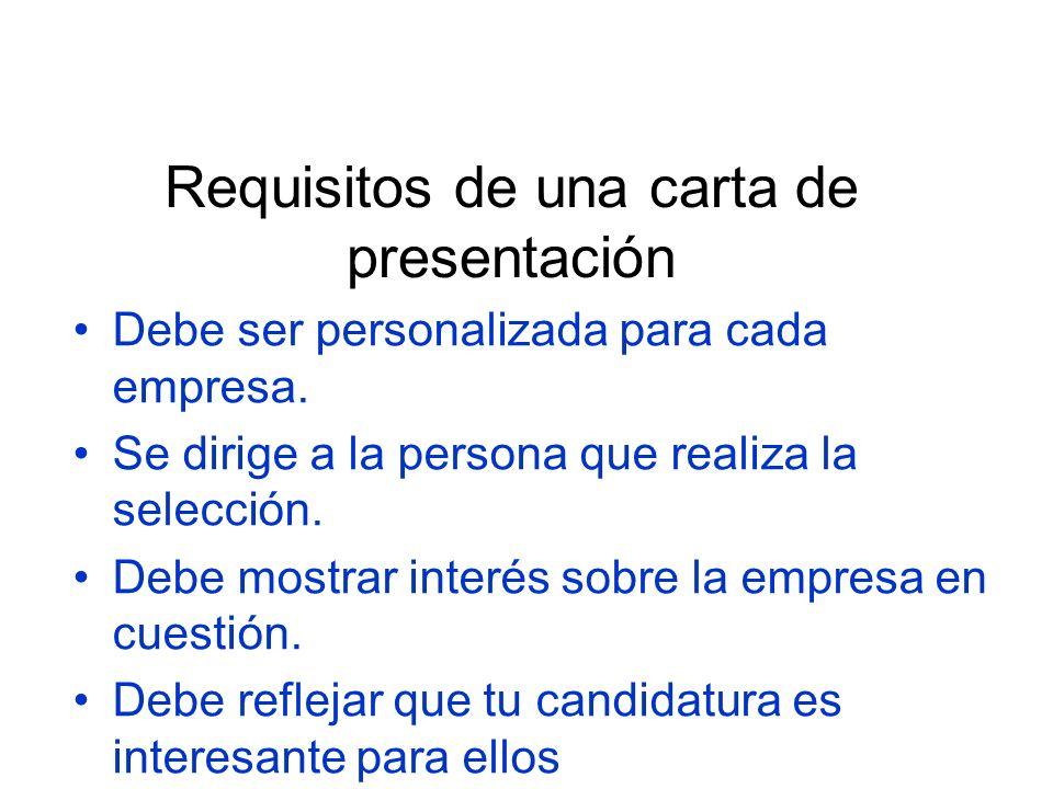Requisitos de una carta de presentación