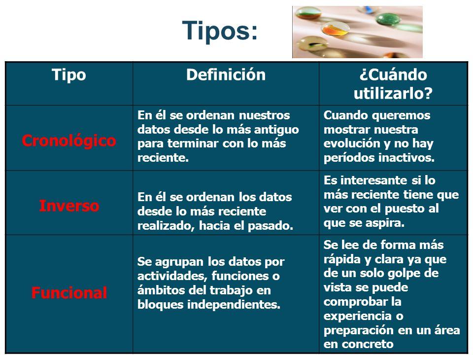 Tipos: Tipo Definición ¿Cuándo utilizarlo Cronológico Inverso