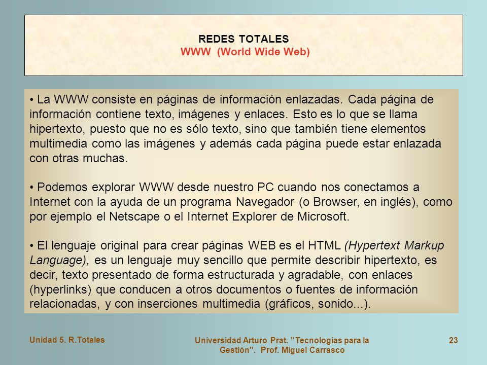 REDES TOTALES WWW (World Wide Web)