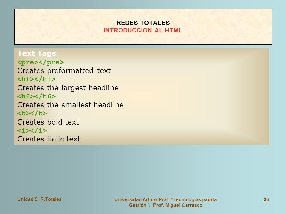REDES TOTALES INTRODUCCION AL HTML