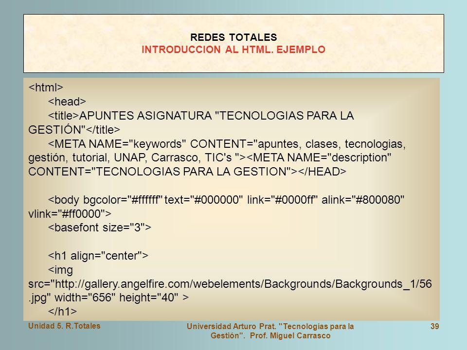 REDES TOTALES INTRODUCCION AL HTML. EJEMPLO