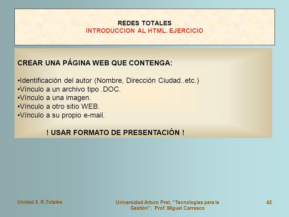 REDES TOTALES INTRODUCCION AL HTML. EJERCICIO